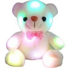 Glowing Stuffed Teddy Bear Plush Toy with LED Light - 8 Inch