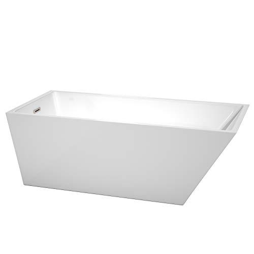 Wyndham Collection WCBTK150167BNTRIM Hannah Freestanding Bathtub with Brushed Nickel Trim, 67