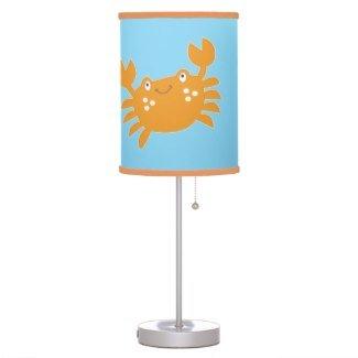 - Orange Crab with aqua background and Orange Trim Nursery Lamp