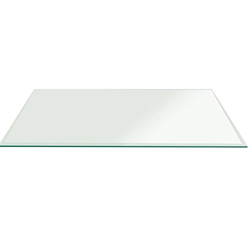 Fab Glass 36x72RECT10THBETE-T Rectangle Glass, 3/8'' Thick Bevel Tempered Radius Corners, 36'' L x 72'' W by Fab Glass and Mirror