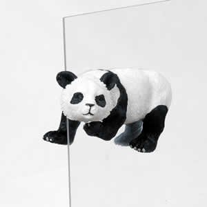 - Panda Bear Fly Thru Decorative Window Ornament, Black and White