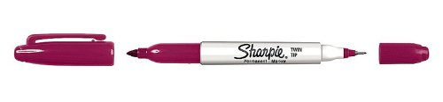 Sharpie Twin Tip Permanent Marker, Fine & Ultra Fine Tip, Berry, Pack of 12