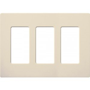 - Lutron CW-3-LA Electrical Wall Plate Claro Decorator Screwless 3-Gang - Light Almond-2PK