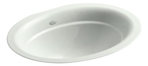 - Kohler 2824-FF Cast Iron undermount Oval Bathroom Sink, 25.5 x 21 x 10.75 inches, Sea Salt