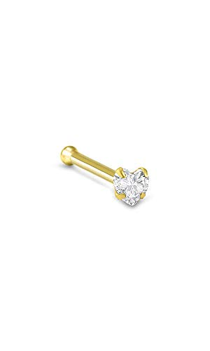 14k Yellow Gold Nose Bone Ring 3mm Heart CZ 22G ()