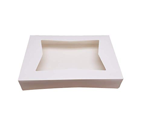 "Beautiful White Paperboard Pastry, Bakery Box Keep Donuts, Muffins, Cookies Safe - Unique Auto-Pop Up Feature and Clear Window for Visibility 12"" Length x 8"" Width x 2 1/2"" (Pack of 25)"