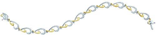 10K Or Blanc Diamant 0,12DWT Fashion-Bracelet Femme-Or de qualité plus élevé que or 9carats
