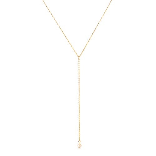 SEAYII Women Y Necklace Gold Freshwater 1 Pearl Drop Pendant Lariat Y Shaped 14K Gold Fill Dainty Gold Y Chain Simple Layering Delicate Handmade Gold Jewelry Gift ()
