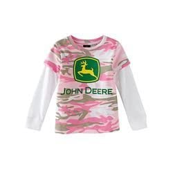 John Deere Toddler Girls Hangdown Pink Camo T-Shir