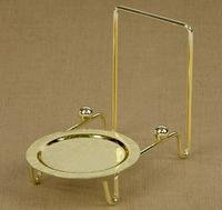 - Etched Base Brass Finish Cup and Saucer Stand, Kitchen Accessory