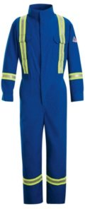 Nomex Iiia Snap - Bulwark Flame Resistant 6 oz Nomex IIIA Regular Premium Coverall with Reflective Trim and Concealed Snap Closure On Sleeve Cuff, Royal Blue, Size 44