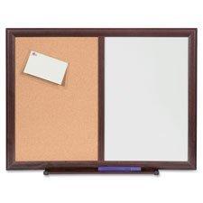 Dryerase/Bulletin Board Combo, 36''x48'', Mahogany, Sold as 1 Each