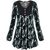 XOWRTE Blouse for Women Plus Size Long Sleeve T-Shirt Autumn Tunic O-Neck Sweaters Floral Print Tops