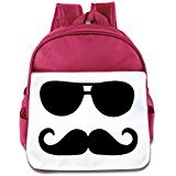 (WLF Girl's And Boy's Children Kid's Backpack Pre School Bags Package Soft Mustache Sunglasses Backpacks Pink)