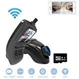 Wifi Dash Cam,car camera with 1080p HD WDR Nigt Vision 170 Degree Wide-Angle View,2.0 Inch LCD Screen,G-Sensor,Parking Monitor,Loop Recording 16GB micro SD card included