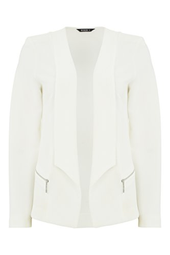 Long White Ladies Sleeves Womens Roman Originals Blazer Jackets Jacket Ivory with Soft Coat Ivory Jersey Textured Zip ZXq74