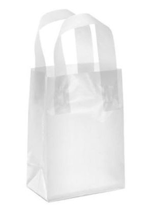 Amazon.com: Frosted Plastic Shopper Gift Bags with Handle (5x3x7 ...
