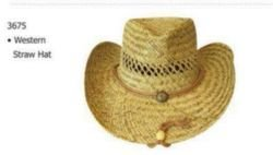 Ddi - Western Cowboy Straw Hat Vent Top With Tie Down (1 pack of 36 items) by DDI