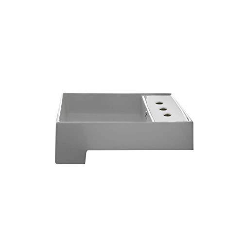 Scarabeo 8031/D-Three Hole Teorema Square Ceramic Semi Recessed Sink, White