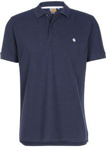 CARHARTT WIP - Poloshirts - kurzärmlig - Herren - Blaues Slim-Poloshirt mit weißem Logo für herren - L