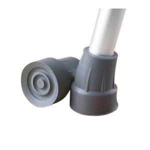"Steel-Reinforced 7/8"" Crutch Tips - 1 Pair (Gray)"