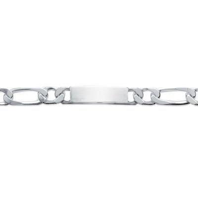 So Chic Bijoux © Bracelet Identité 22 cm Maille Figaro 1-1 Gourmette 12 mm Argent 925 - Personnalisable : Gravure offerte