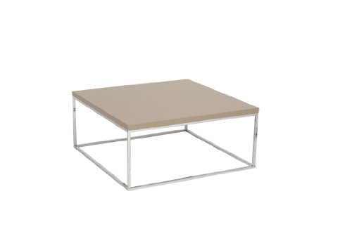 Eurø Style Teresa Square Lacquer Top Coffee Table, Latte with Chrome