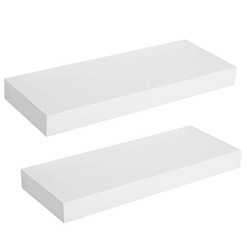 - SONGMICS 2-Set Floating Wall Shelf 15 inch, Easy Install for Decorative Display Corner Invisible Bracket Support White ULWS14WT-2