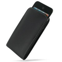 PDair Leather Case for Apple iPod Touch 4th (8GB/32GB/64GB) - Vertical Pouch Type with Belt Clips (Black)