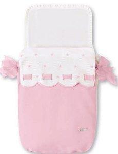 Bimbi Class Schlafsack–Tasche, 35x 77cm, weiß und pink