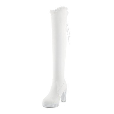 Thigh Boots Heel Boots Fall Split Boots EU36 Winter Round Up Boots Lace RTRY Chunky Riding US6 Women'S Leatherette Fashion CN36 Toe High Joint For Shoes UK4 8PFcYT6a