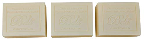 - Bela Pure Natural Soap, Natural Triple Milled Soap, Made in Australia with Organic Shea Butter, 3.5 oz. Bars - 3 Pack (Goats Milk)