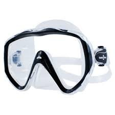 - ScubaMax Abaco Single Lens Oversize Dive Mask Scuba Snorkeling Swimming (Black with Clear Skirt)