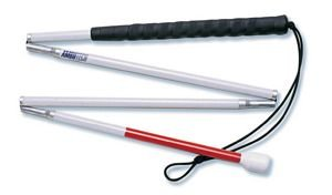 Alimed AmbuTech Aluminum 4 Piece Folding Cane With Hook Style Marshmallow Tip - Length : 54