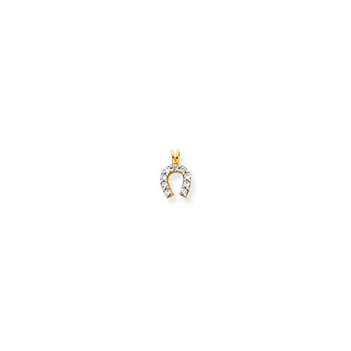 ICE CARATS 10k Yellow Gold Small Cubic Zirconia Cz Horse Shoe Pendant Charm Necklace Good Luck Italian Horn Animal Fine Jewelry Gift Set For Women Heart (Charm Small Horseshoe)