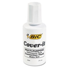 BIC Cover-It Correction Fluid, 20 Milliliter Bottle, White, 1/Each ()