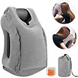 DR.HOMEER Inflatable Air Travel Pillows Portable Office Nap Neck Pillow Head Body Support Airplane Cushion Soft PVC For Car Bus Train Camping Sleeping Pillow With Earplugs