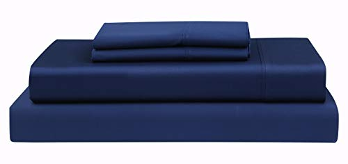 Boston Linen Co. 500 Thread Count, 100% Cotton Sheet Set – Extra Soft, Luxury Finish – Smooth and Silky Sateen Weave Long-Staple Combed Cotton – 4 Piece Set – King, Midnight Blue