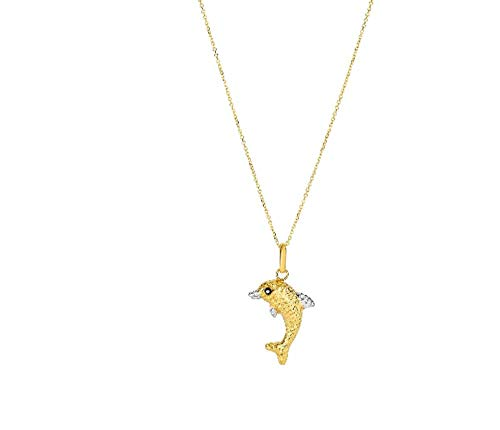 Gold town 14kt Yellow+White Dolphin Pendant On Chain Reversible Back is Shinny ()