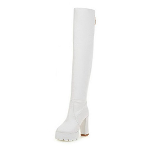 AmoonyFashion Closed White High Material Solid High Boots Toe Soft Heels top Women's Round OqrOI