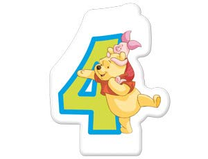 Procos 82916-Winnie the Pooh Candle Numeral Number 4, Multi-Colour ()