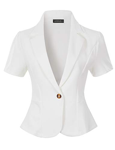 LE3NO Womens Classic Solid Single Button Stretchy Short Sleeve Collared Blazer Jacket, White, Large