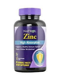 Natrol High Absorption Zinc Chew Tablets, 60 Count
