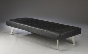 Second May Modern Leather Daybed/Mies Couch Upholstery Buff Leather, Black, 178 x 69 x 38 cms - Mies Daybed