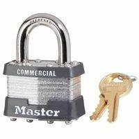 Master Lock 470-1KA-2001 Laminated Padlocks Keyed Alike Key Code 2001, 5/16'' Diameter, 3/4'' Width, Silver (Pack of 6)