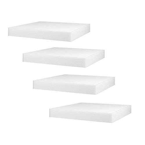 - Mybecca 4-Pack White Polyurethane Foam Cushion Inserts; Square 18x18x1 Foam Tiles for Upholstery Projects, Pillows, DIY Home Decor for Seat Replacement, Foam Padding, Cushions