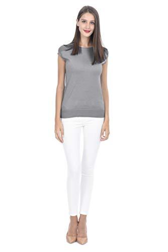 Maglietta a con Rotondo Fusio State da Cashmere Cotone Collo Donna Maglia Trama e in Grey e 5Sw48qpOn