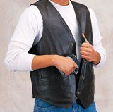 Biker Concealed Leather Gun Vest for Concealment by Roma Leather