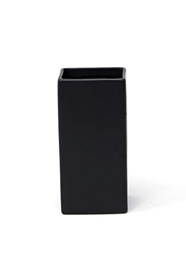 """Serene Spaces Living Square Matte Black Ceramic Vase – Modern Black Square Vase Adds a Sleek Look to Any Space, Use for Home Décor, Event Centerpieces and Much More, 3"""" SQ x 6"""" H ()"""