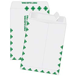 Quality Park Redi Strip Catalog Envelope, 9 x 12, First Class Border, White, 100/Box ()